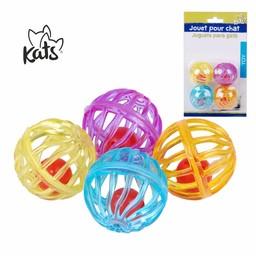 Kats Kattenspeelgoed, set van 4 speelballetjes