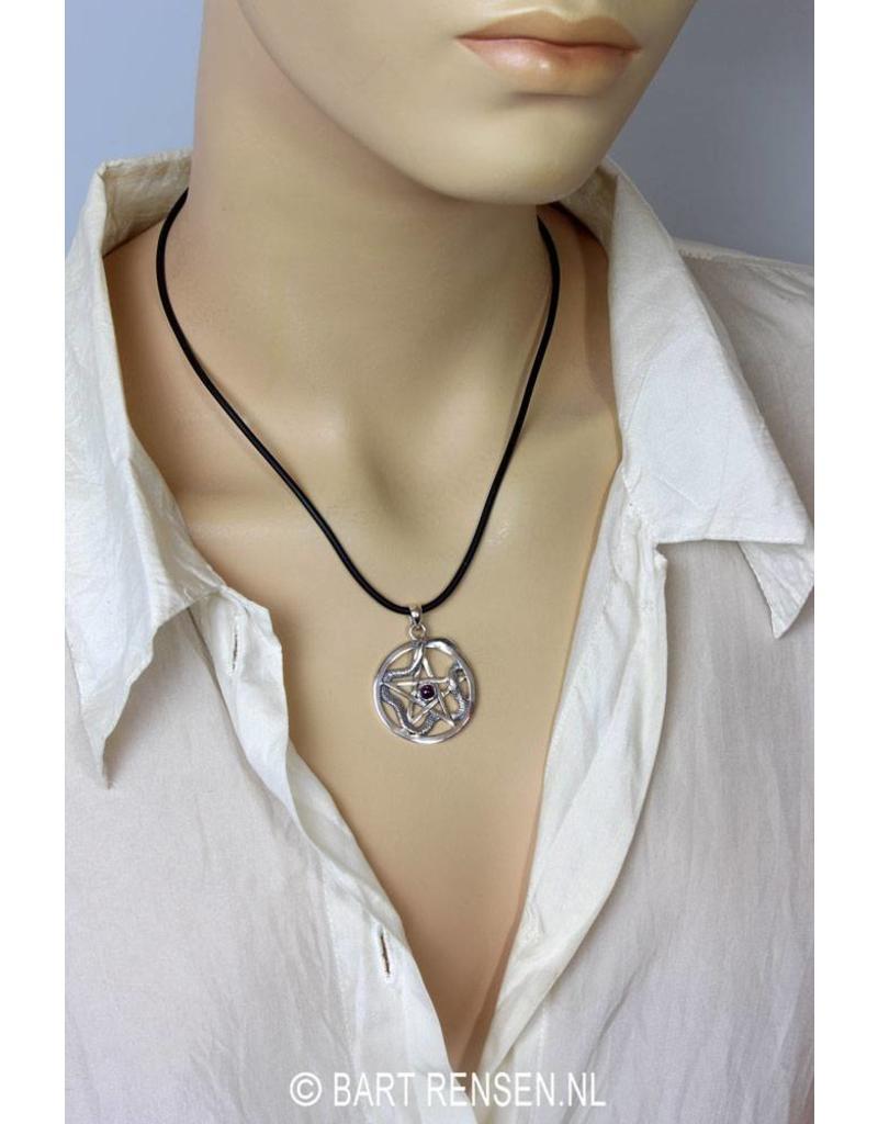Pentagram Snake pendant - sterling silver