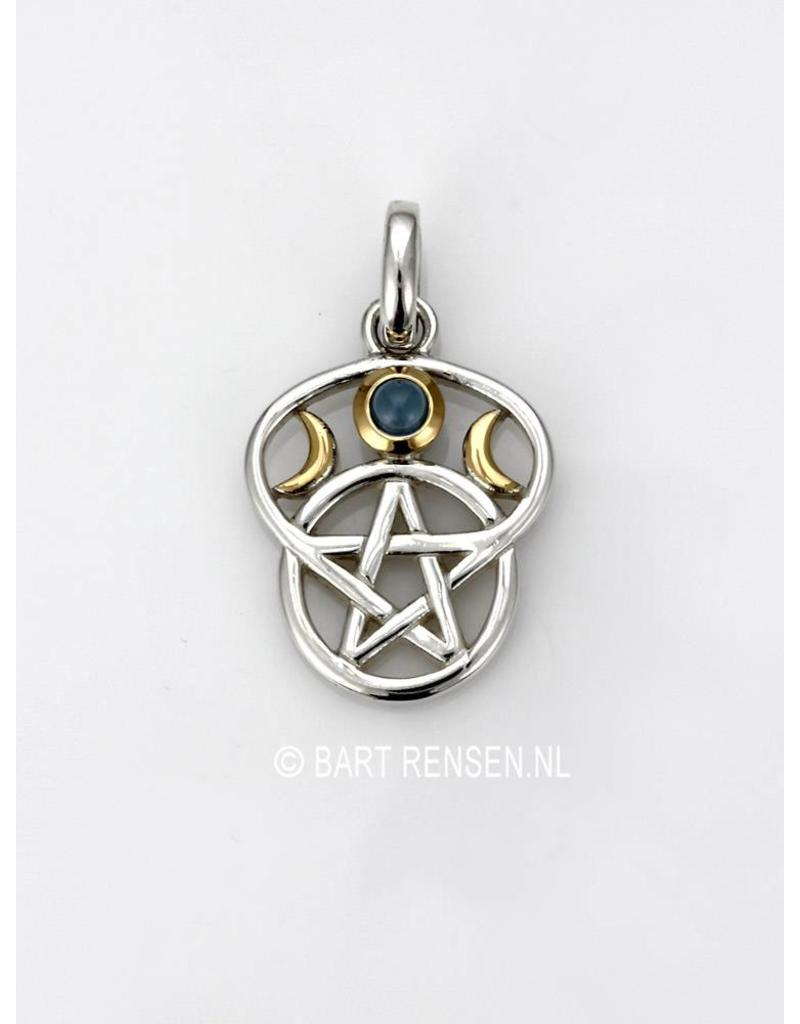 Pentagram Moon pendant - sterling silver