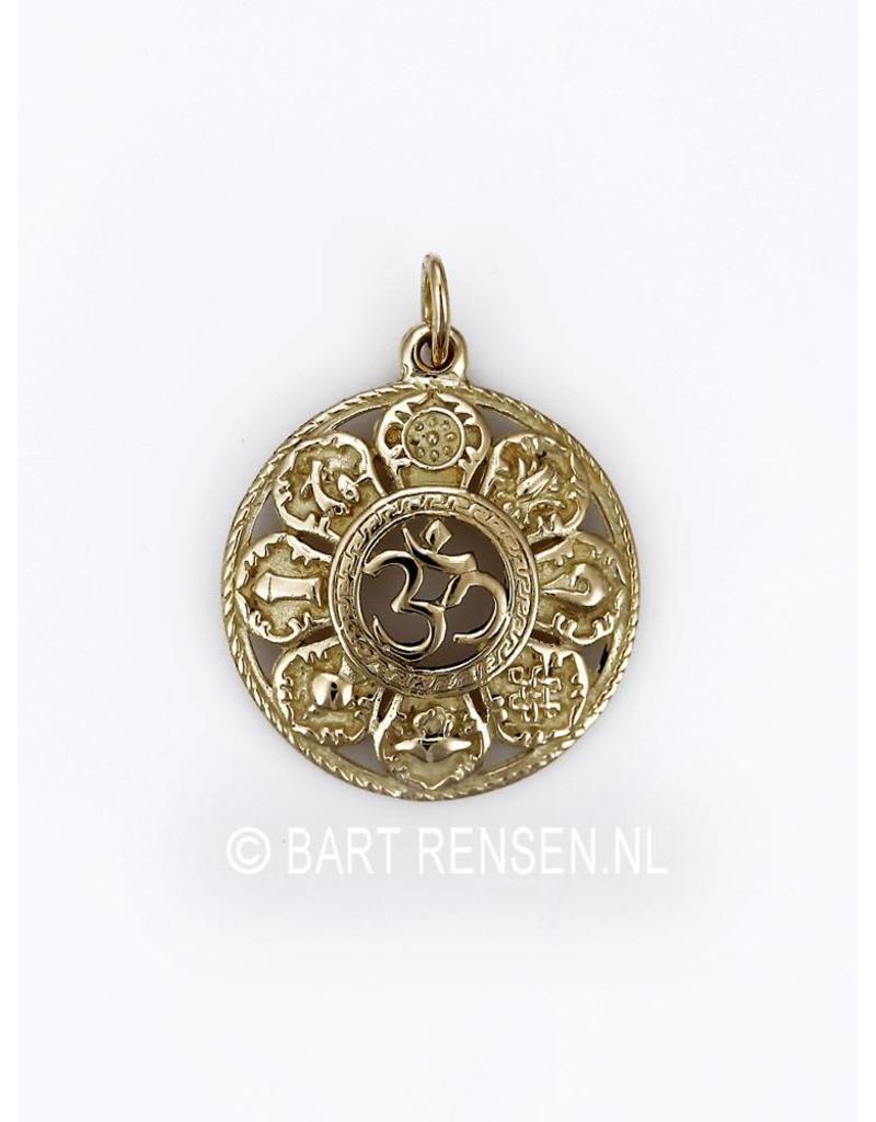 AUM hanger met gelukssymbolen - 14 krt goud