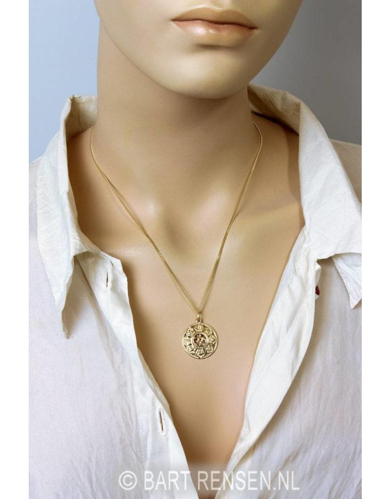 AUM pendant with lucky symbols - 14 carat gold