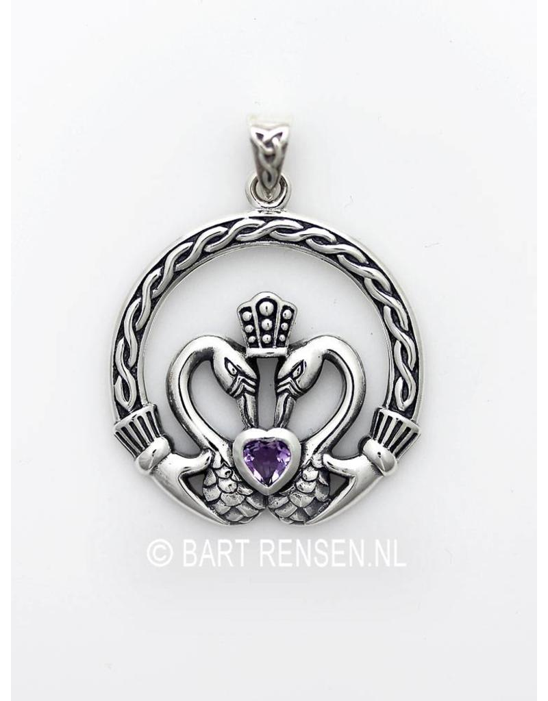 Claddagh pendant with stone - sterling silver
