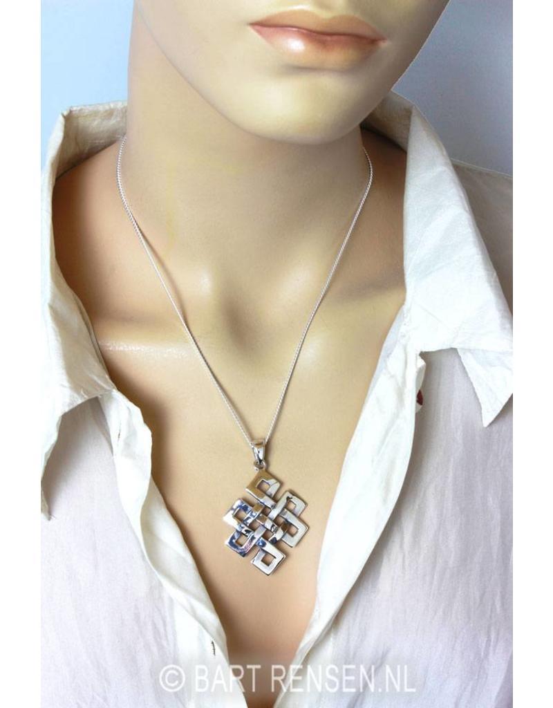 Tibetaanse Knoop hanger - echt zilver