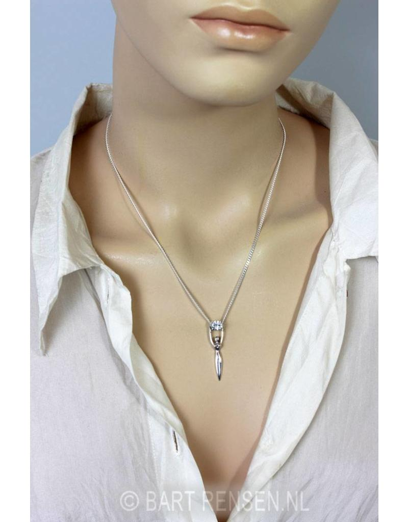 Godin hanger met zirconia steen - echt zilver