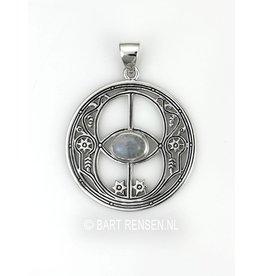 Vesica Pisces hanger met steen - zilver
