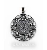 Astamangala pendant - sterling silver