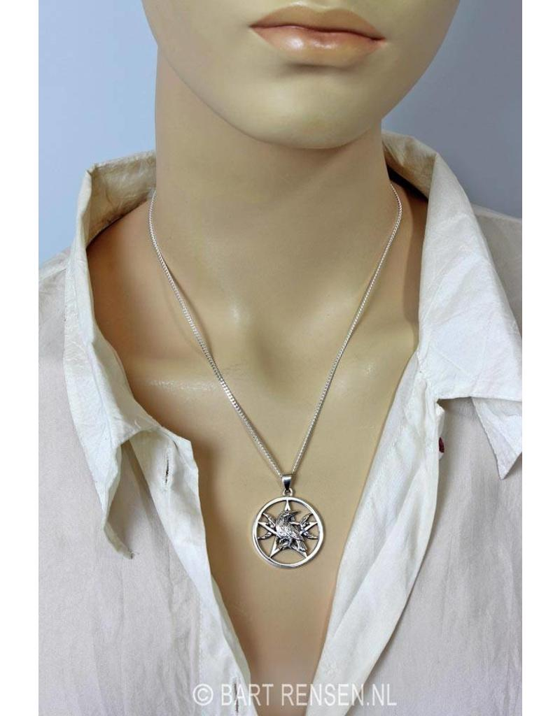 Pentagram Raven Pendant - sterling silver