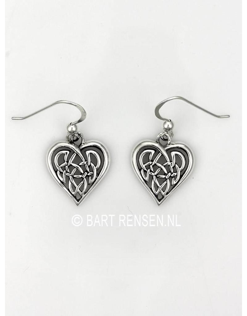 Keltisch Hart Oorhangers - echt zilver