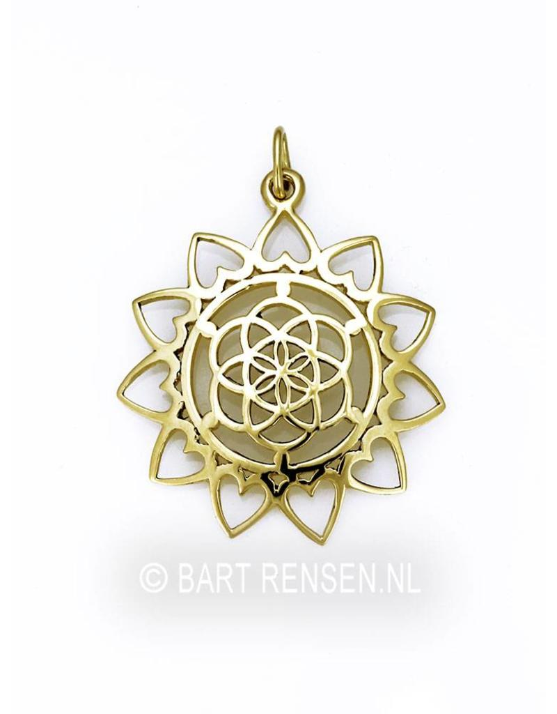 Seed of Life Lotus pendant - 14 crt gold