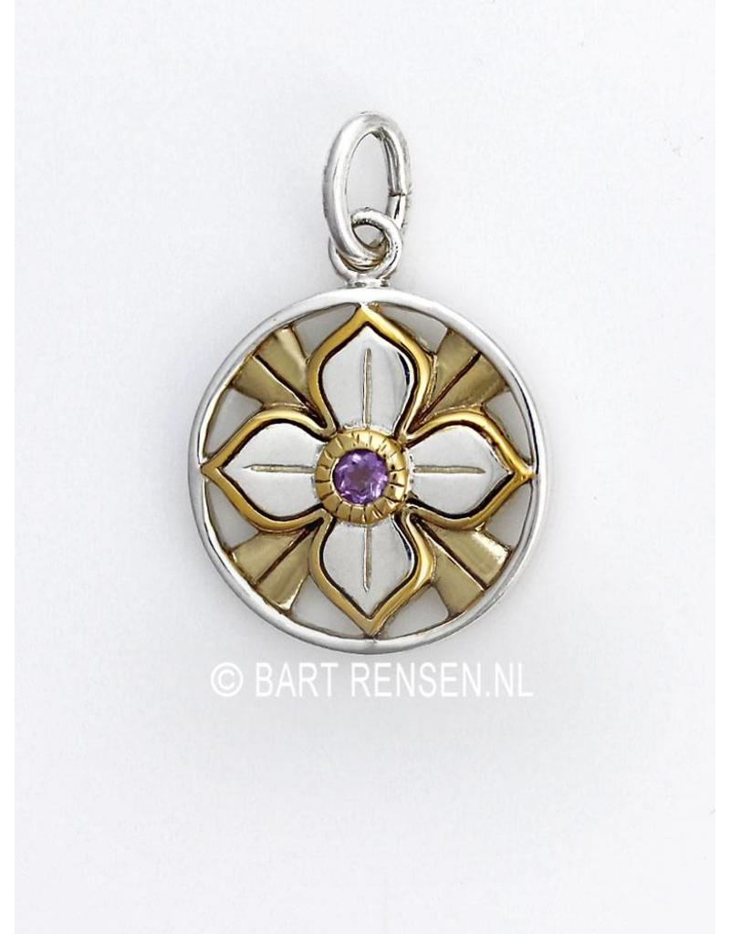 Lotus pendant with stone - sterling silver