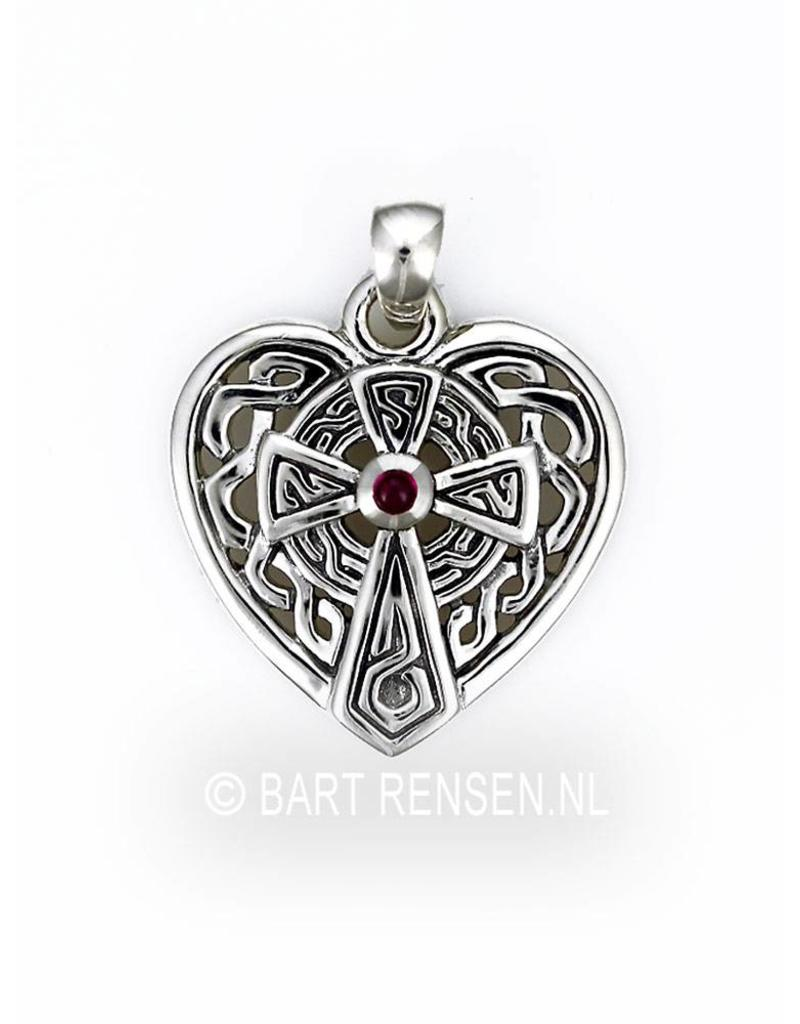 Keltisch Kruis Hart hanger - echt zilver