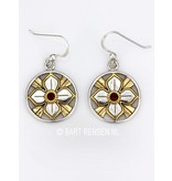Lotus earrings with stone - sterling silver