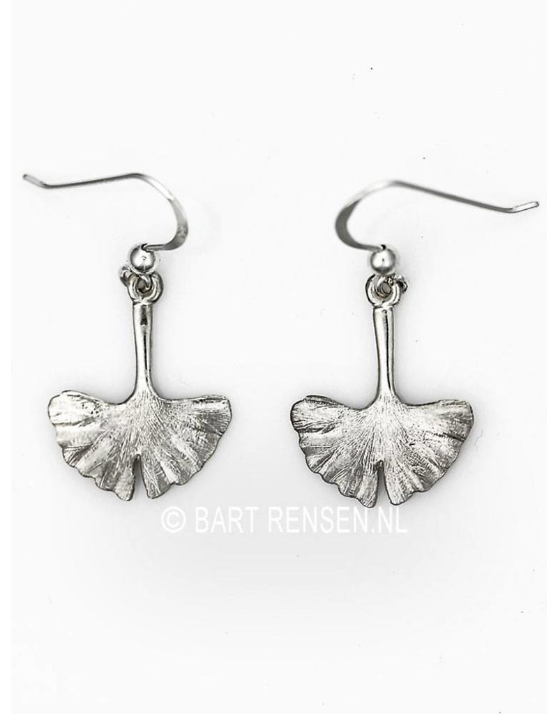 Ginkgo leaf earrings - sterling silver