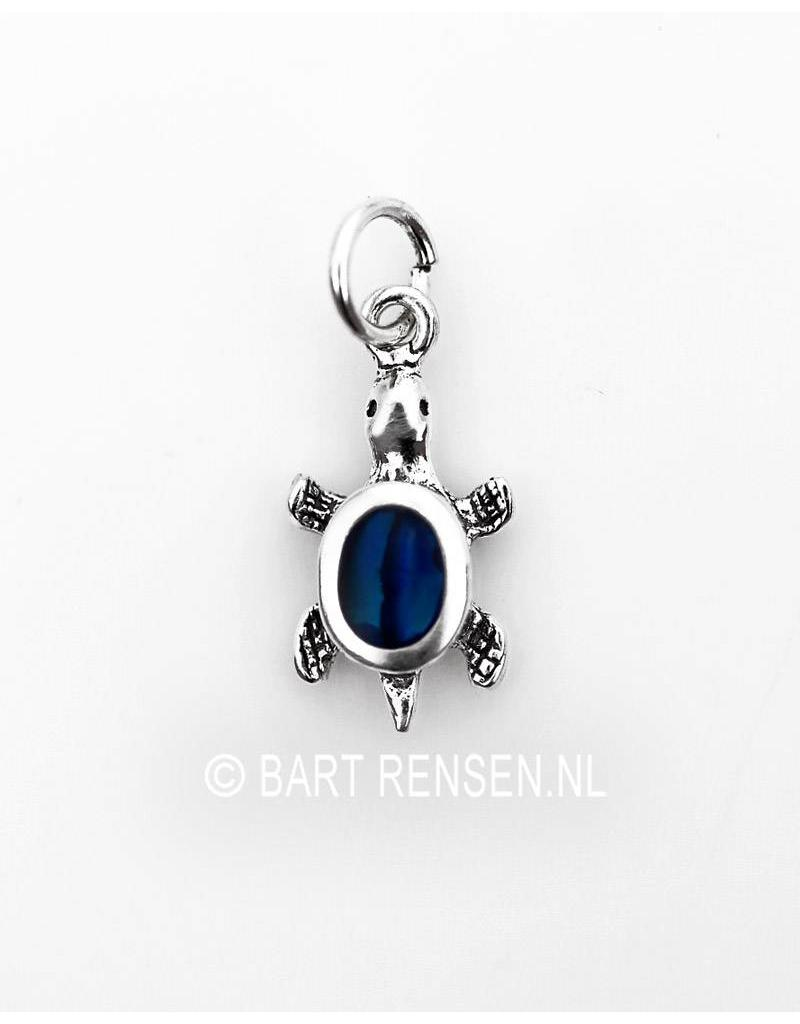 Turtle pendant with gemstone - sterling silver