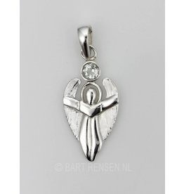 Angel pendant with stone - silver