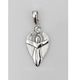 Engel hanger met steen - zilver