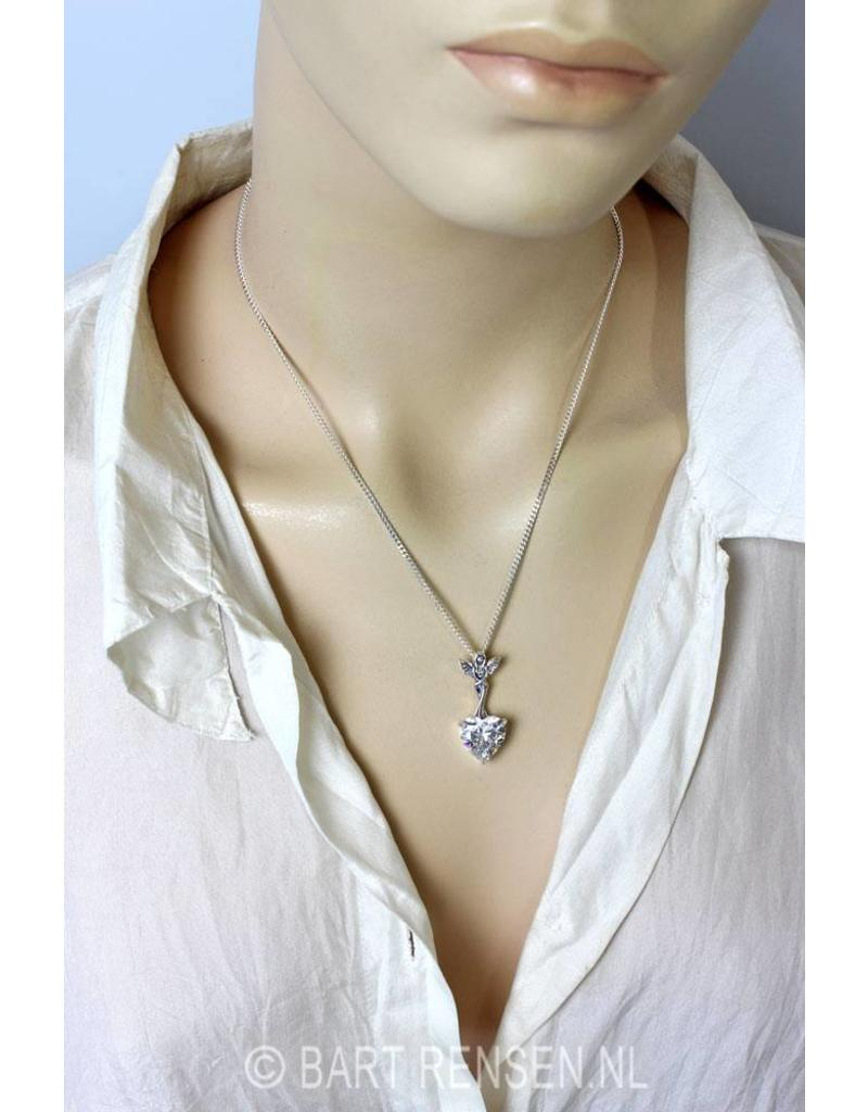 Angel pendant with cubic zirconia heart - sterling silver