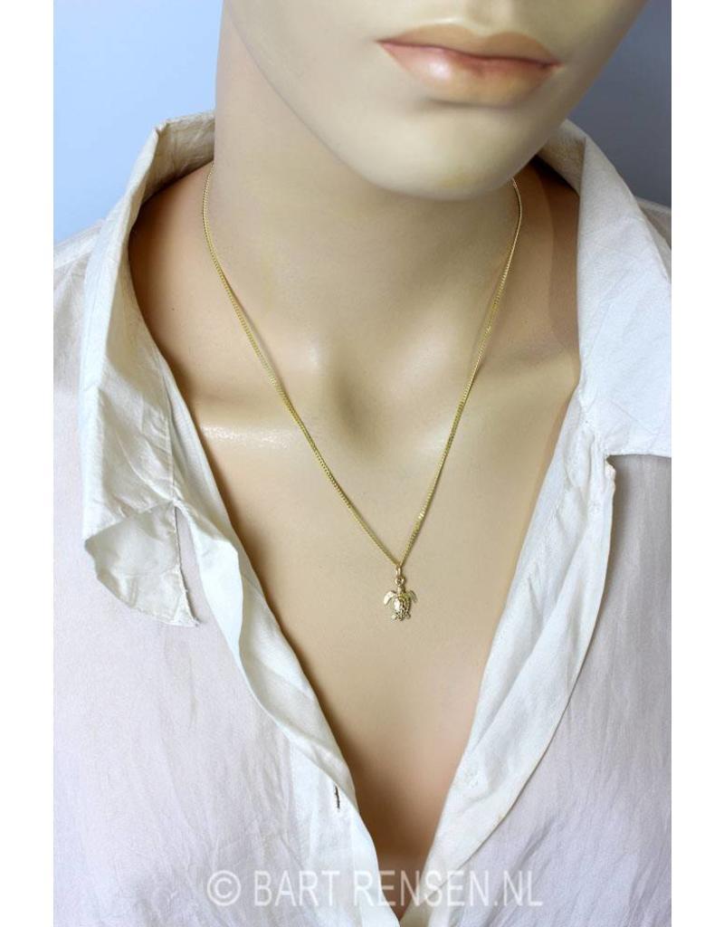 Turtle pendant / ear studs - 14 crt gold