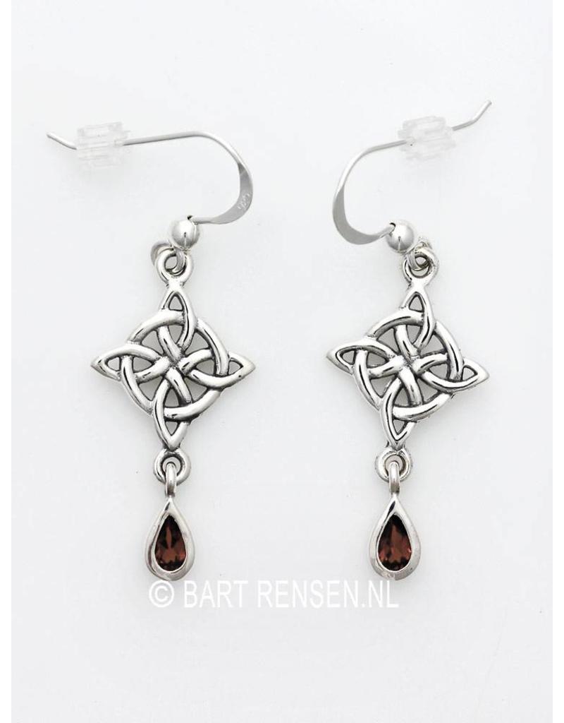 Keltisch Kruis Oorhangers met edelsteen - echt zilver
