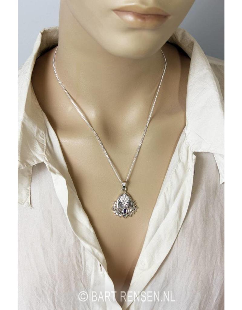 Lotus hanger met edelstenen - echt zilver