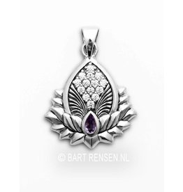 Lotus pendant with gemstones