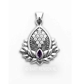 Lotus pendant with gemstones