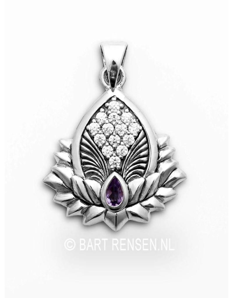 Lotus pendant with gemstones - sterling silver