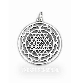 Sri Yantra Lotus hanger - zilver