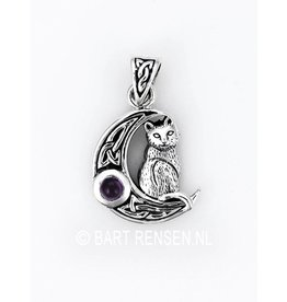 Moon pendant with Cat - silver