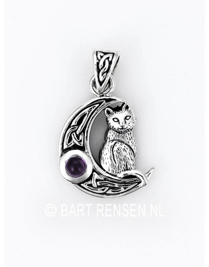 Moon pendant with Cat - sterling silver