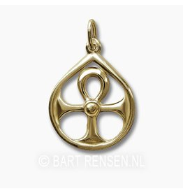 Golden Ankh pendant in circle