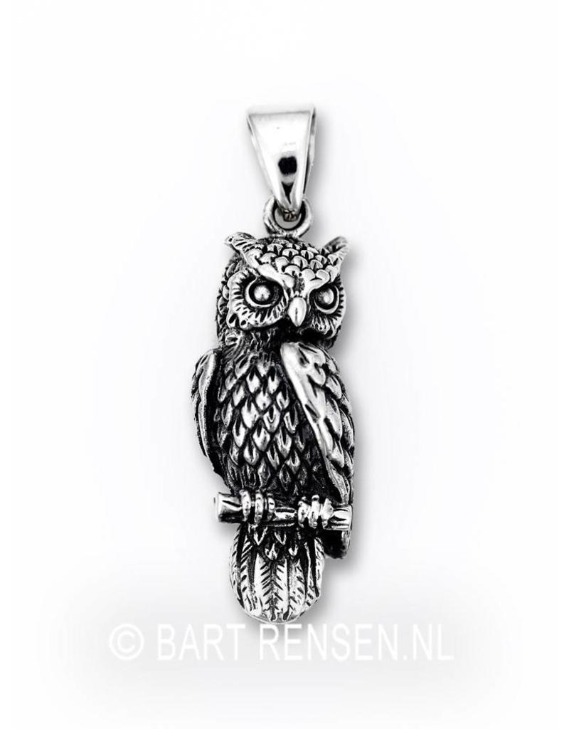 Owl pendant - sterling silver