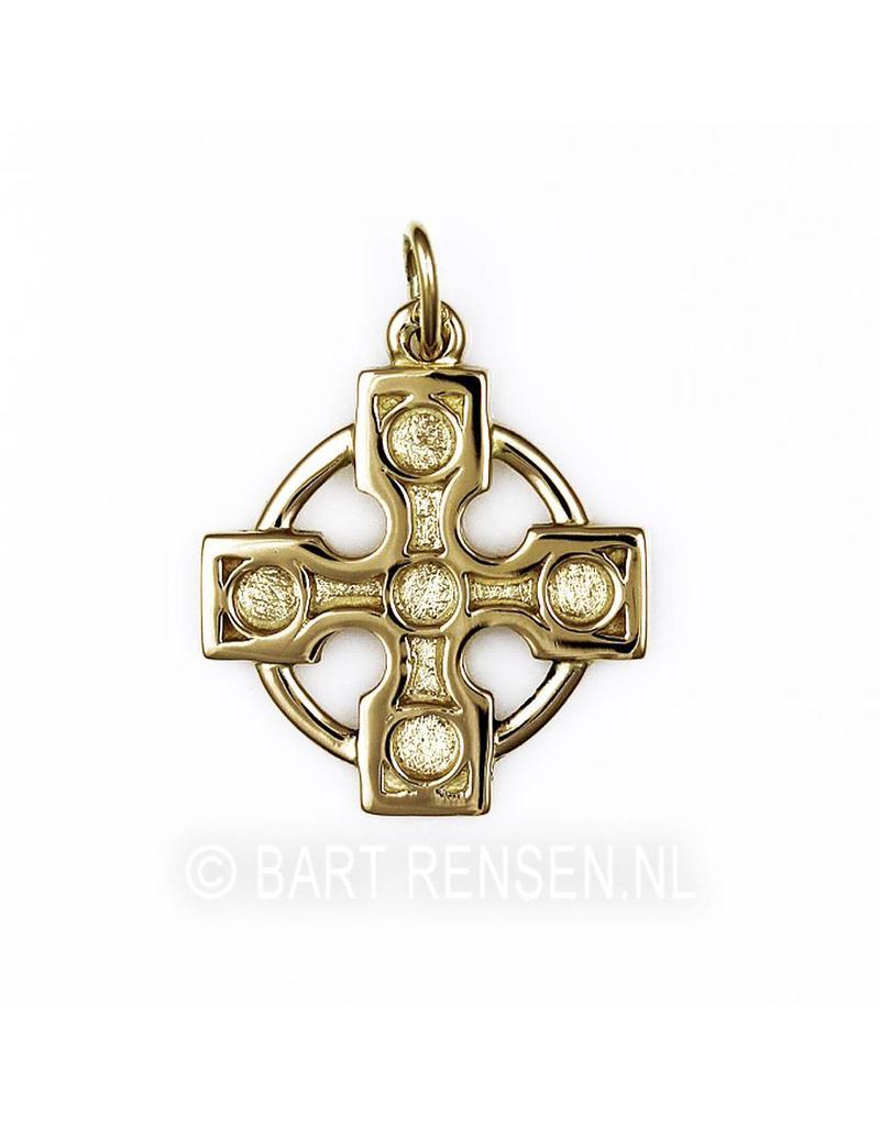 Golden Druid Cross Pendant - 14 carat gold