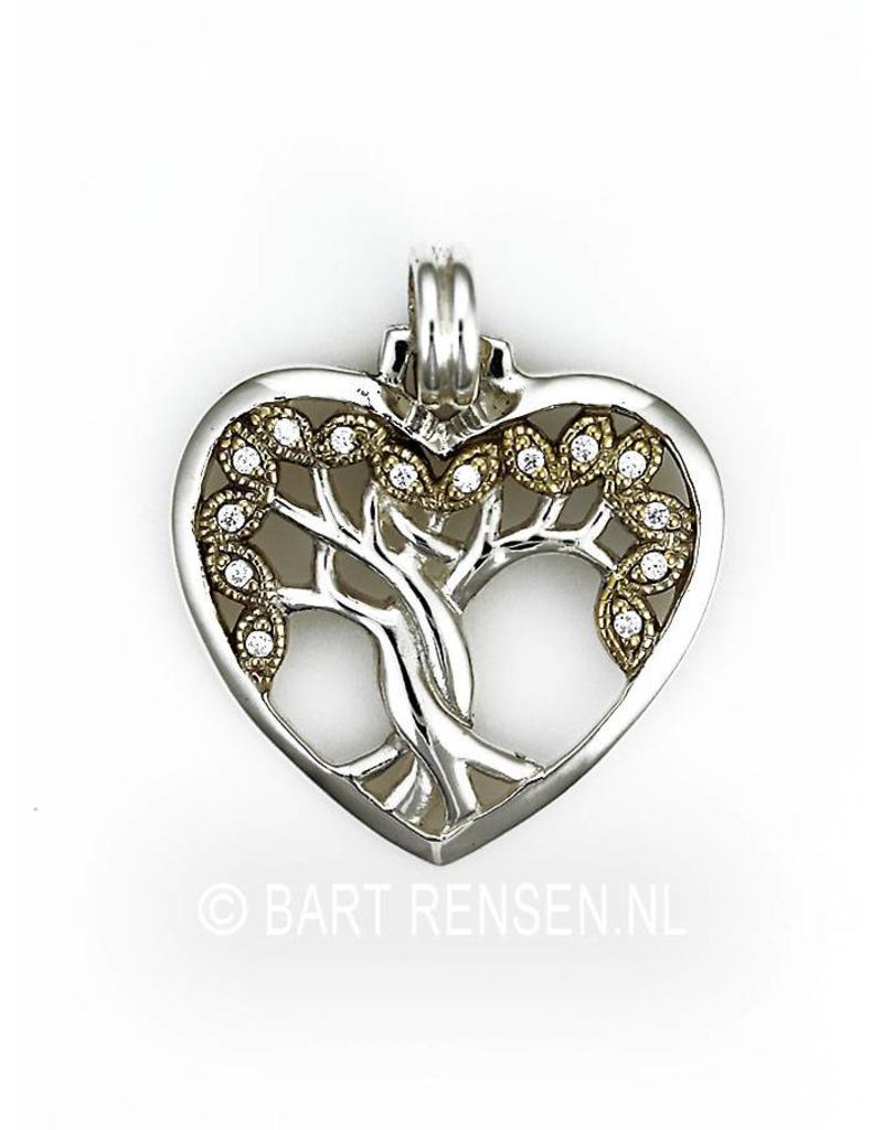 Levensboom Hart hanger - zilver, deels verguld