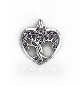 Levensboom Hart hanger - zilver