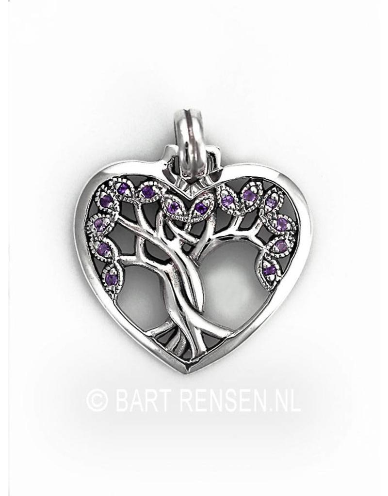 Levensboom Hart hanger - echt zilver