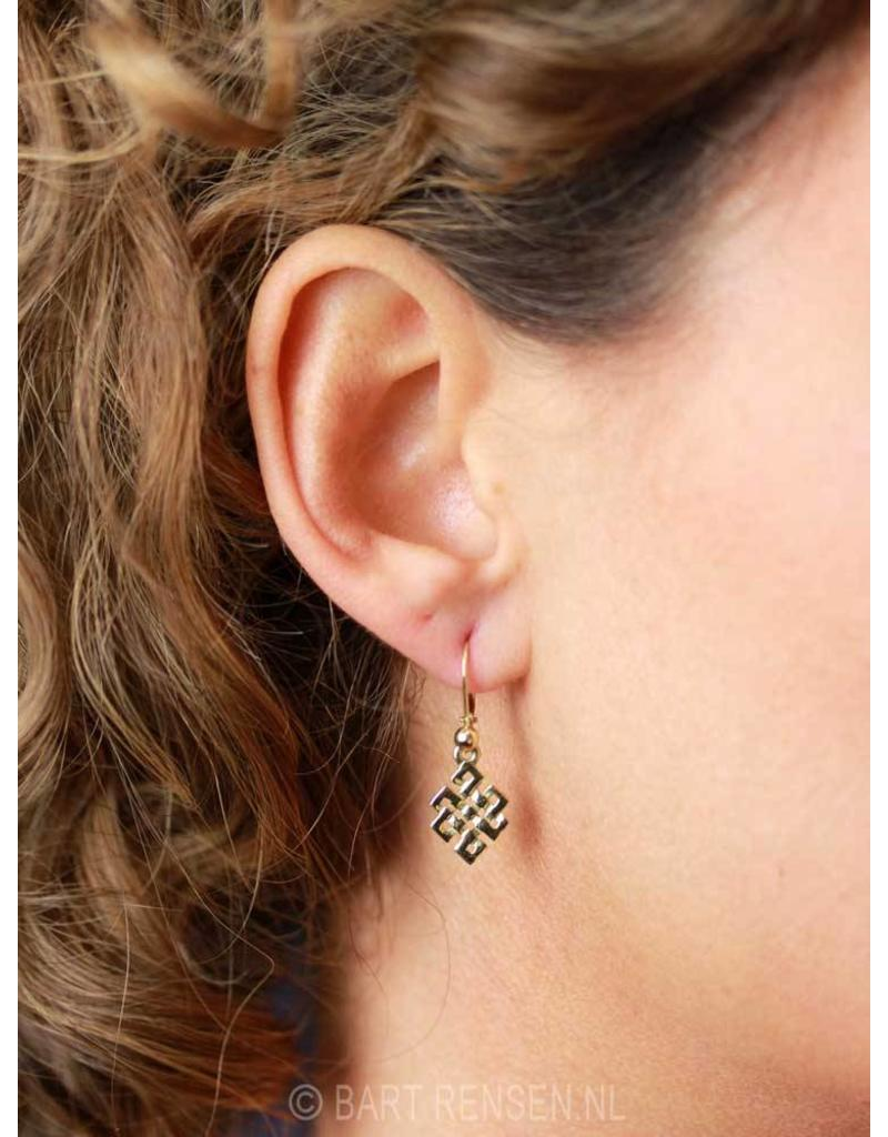 Tibetaanse Knoop oorhangers - 14 krt Goud