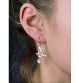 Bird earrings with gemstone - real silver
