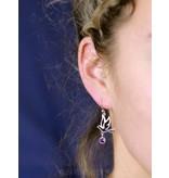 Vogel oorhangers met edelsteen  - echt zilver