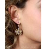 Lotus oorhangers met steen - echt zilver