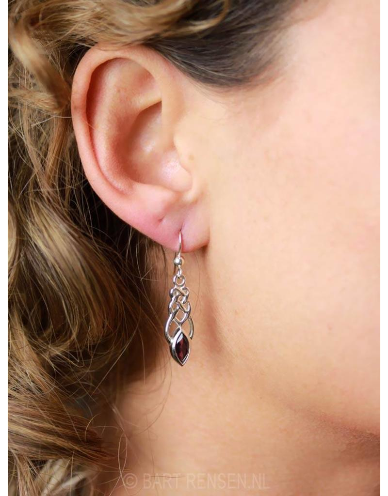 Keltische Oorhangers met edelsteen - echt zilver