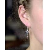 Celtic Cross Earrings with gemstone - sterling silver