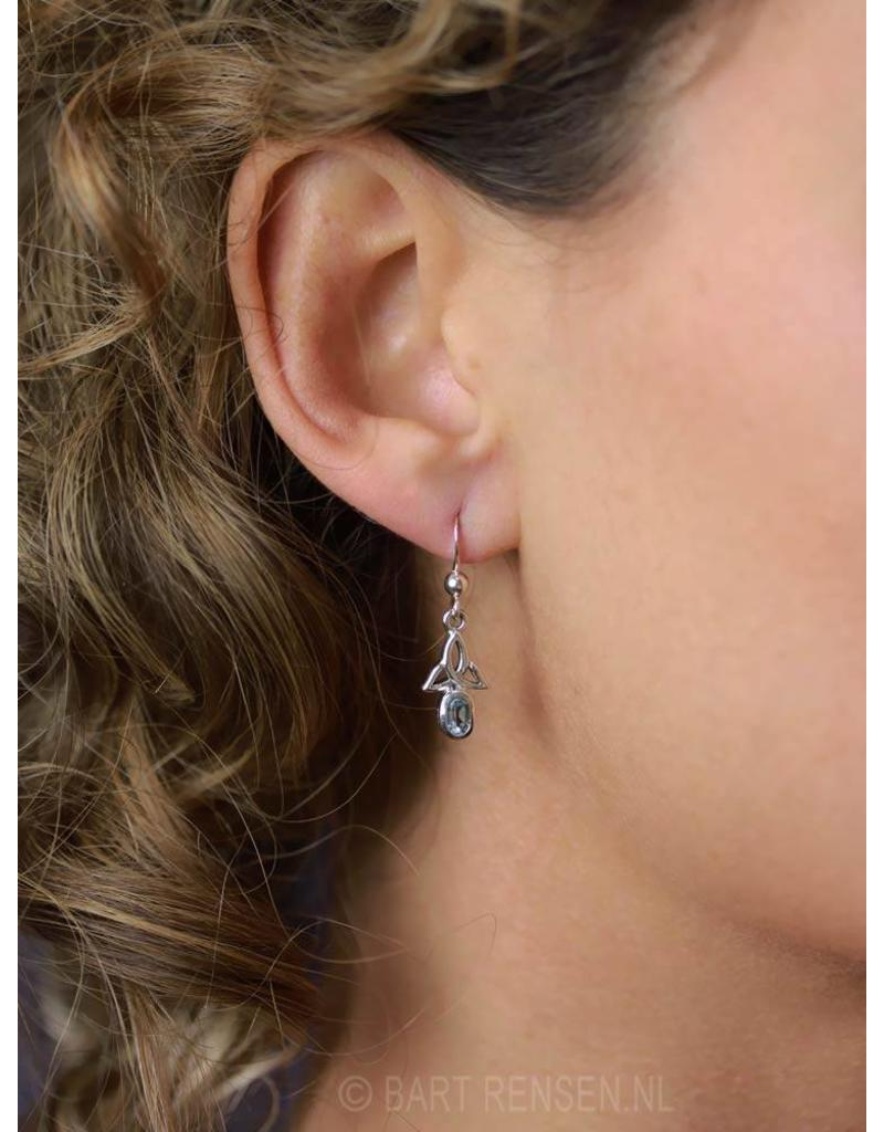 Triquetra earrings with stone - sterling silver
