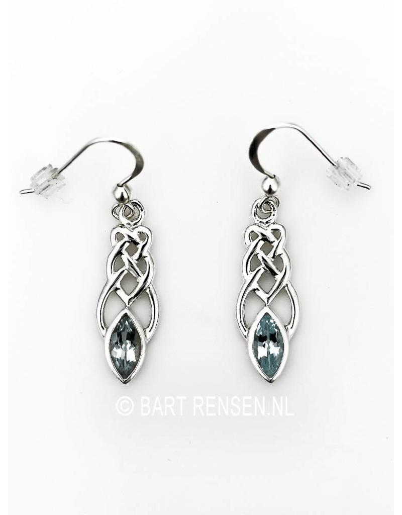 Celtic earrings with gemstone - sterling silver