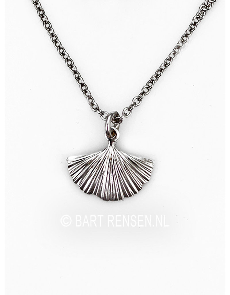 Ginkgo leaf pendant, incl necklace - sterling silver