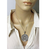 Aztec calendar pendant - sterling silver