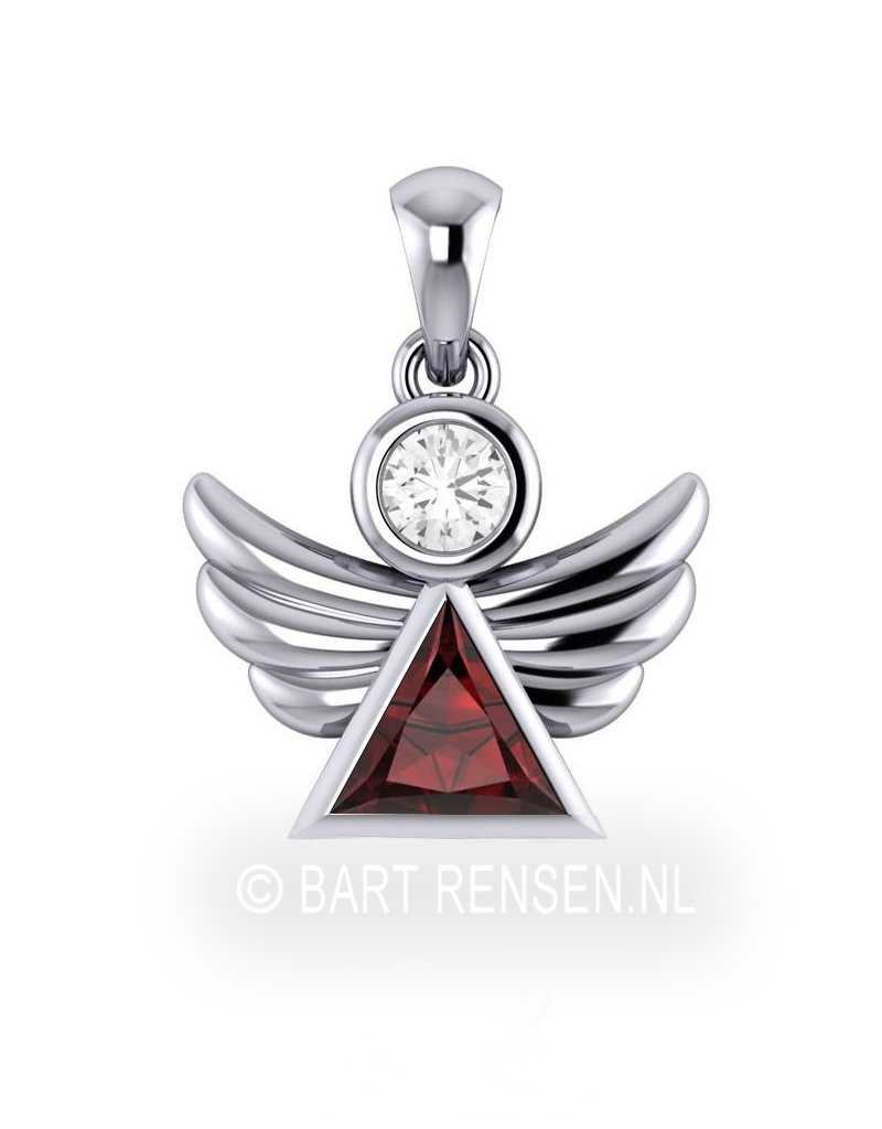 Angel pendant with precious stones - sterling silver