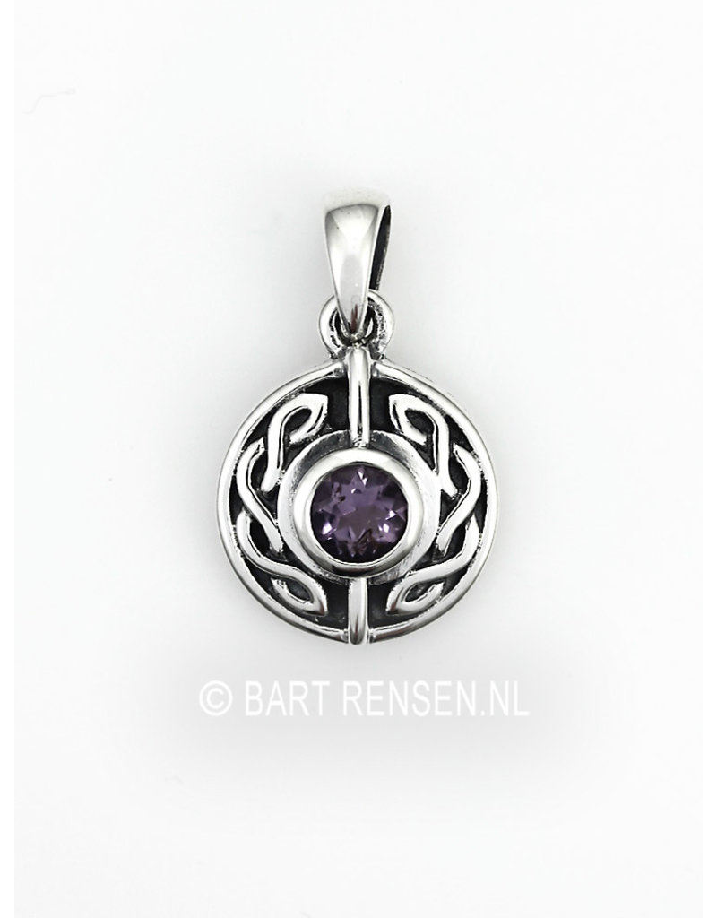 Celtic pendant with stone - sterling silver