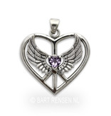 Winged Heart pendant - sterling silver