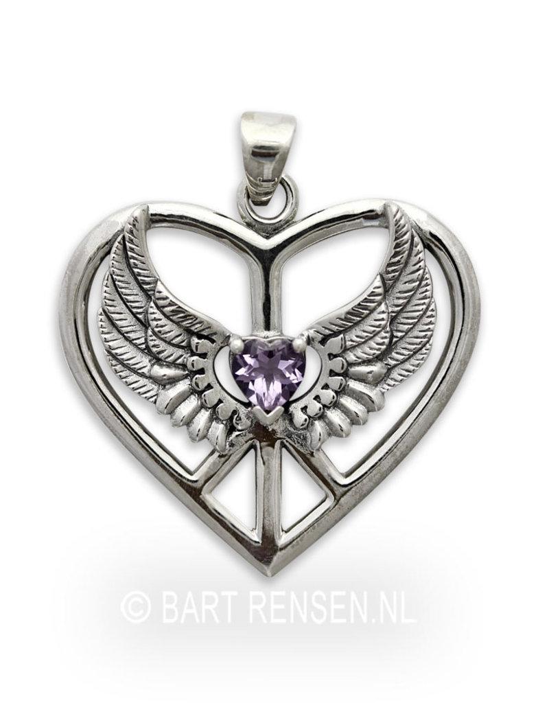 Gevleugeld Hart hanger - echt zilver